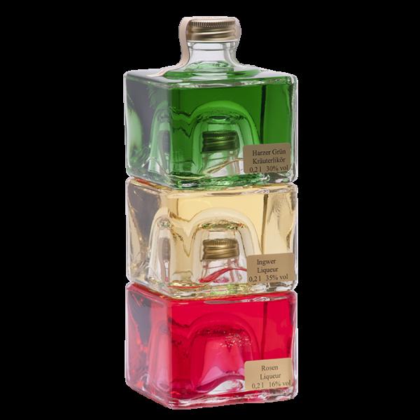 Geschenkverpackung mit 3 Würfelflaschen