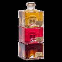 Vorschau: Stapelbare Würfelflasche gefüllt mit verschiedenen Spezialitäten je 0,2 l